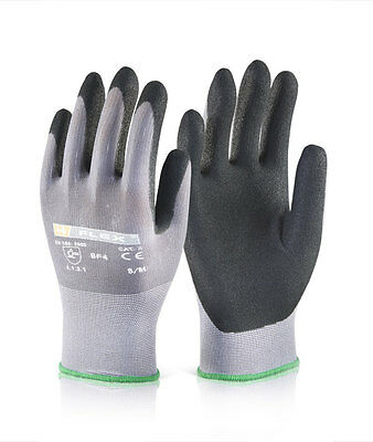10 x Click 2000 Flex BF1 Nitrile PU Mix Coated Breathable Safety Gloves Size L