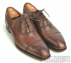 GEORGE-CLEVERLEY-Brown-Leather-Cap-Toe-Oxfords-Dress-Shoes-UK-9-US-10