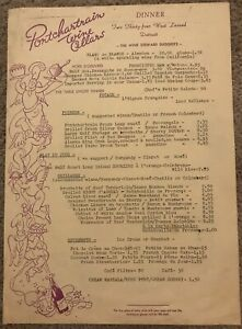 1970's Vintage Menu PONTCHARTRAIN WINE CELLARS Restaurant Detroit MI