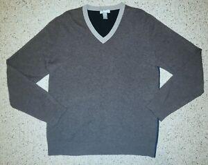 Details about NEIMAN MARCUS 100% Cashmere Vneck Sweater Men's L Blue Gray Brown Color Block