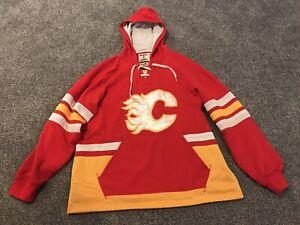 wholesale dealer ad2c5 1eadd Details about Mens CCM XL Calgary Flames Sweatshirt - Lace Em Up Hoodie