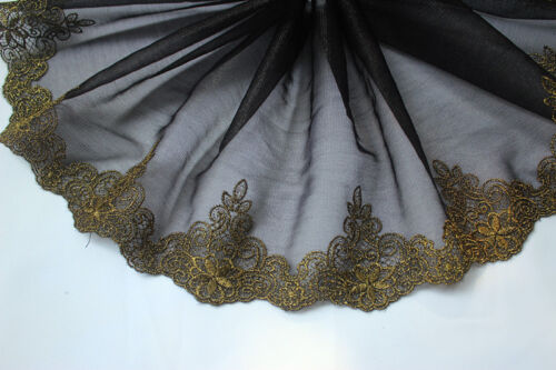 """2 Yard Lace Trim Stretch Black Tulle Exquisite Gold Embroidery Floral 7.48/"""" wide"""