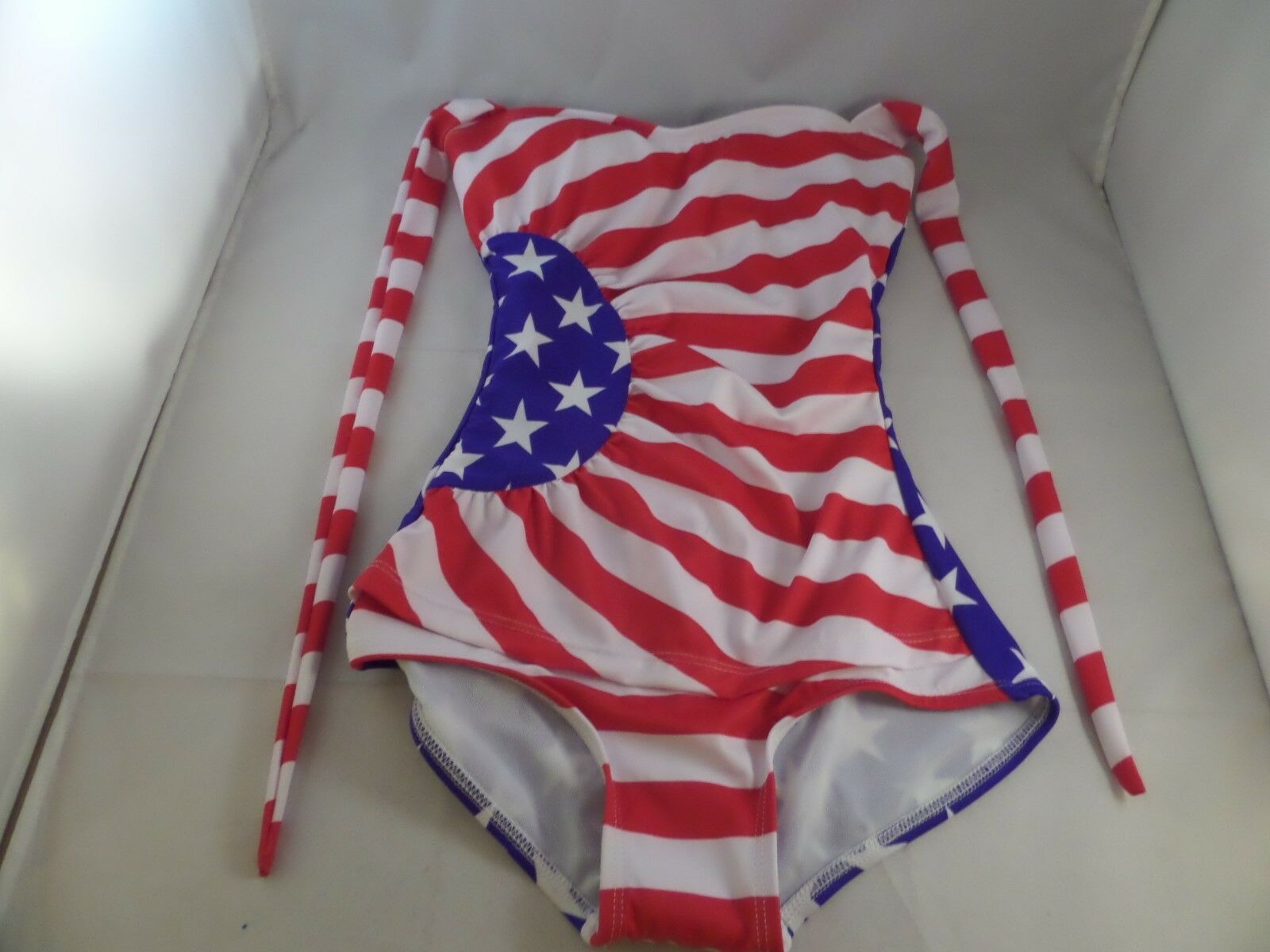 NWOTD Fables by Barrie Gloria Swimsuit Sz XS Stars n Stripe 1pc Red white bluee