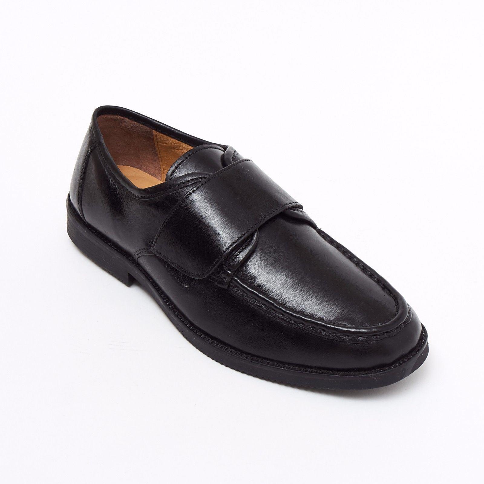 Scarpe casual da uomo  Lucini Formale Uomo Nero Pelle Scarpe Col Tacco Smart Velcro Mocassini MATRIMONIO mocassino
