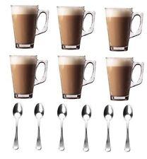 New Set Of 6-240ml Coffee Cappuccino Tea Café Latte Mugs Glasses Cups Spoons