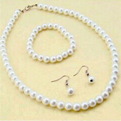 Elegant Women 7-8mm Imitation Pearl Necklace Bracelet Earrings Set