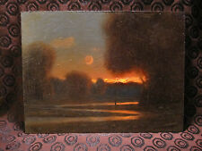 Tonalist Oil Painting by Max Cole - Old Style Showing Moon