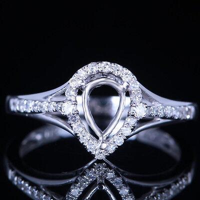 Solid 10K White Gold 7x5mm Pear-Shaped Diamonds Semi Mount Ring Wedding Setting
