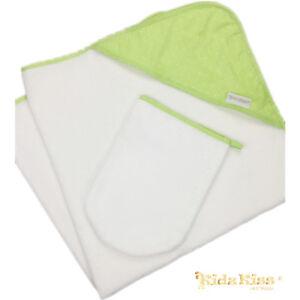 Kidz-Kiss-Petit-Dots-Green-Baby-Velour-Hooded-Towel-with-Mitt-Bag-Washcloth