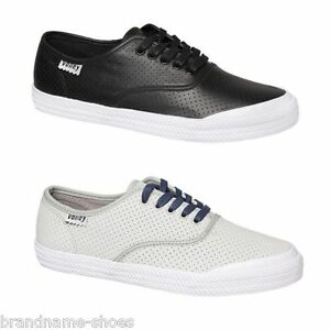 MENS-VOLLEY-O-C-PERFORATED-LEATHER-VOLLEYS-SNEAKERS-CASUAL-BLACK-GREY-SHOES