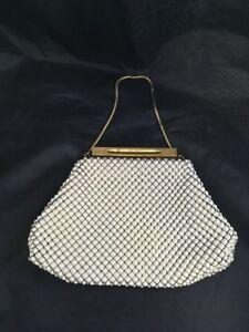 Vintage-White-Beaded-Bag-Gold-Chain-Handle-Purple-Liner-Purse-Bag-Clutch