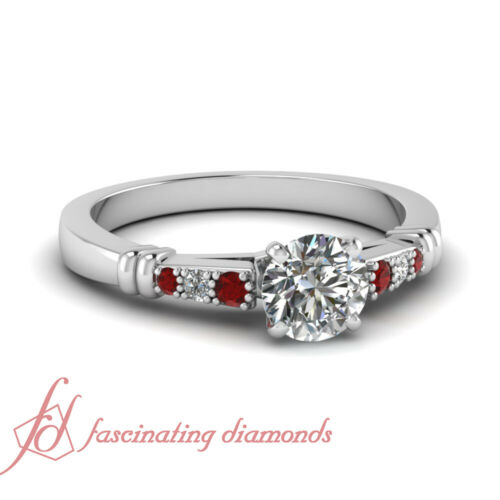 .60 Ct Round Cut SI1E Color Diamond & Round Red Ruby Engagement Ring Pave Set
