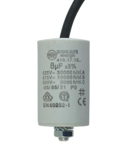 MKP-Anlaufkondensator 8uF//400V Kunststoffbecher 9,99€//1Stk Kabel 250mm