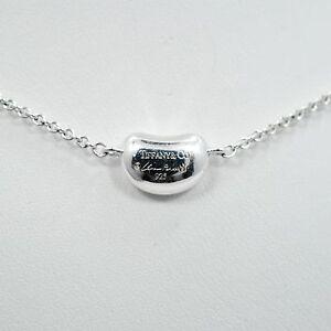 73d7d0e57bbf4 Details about Tiffany & Co. Elsa Peretti Sterling Silver Mini Bean Pendant  Necklace