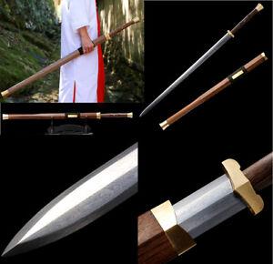 Handmade-Rosewood-Chinese-Sword-Han-Jian-Long-Damascus-Folded-Steel-Blade-Sharp