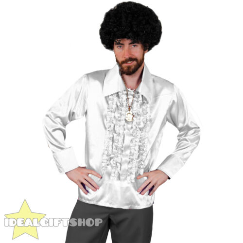 MENS WHITE 1970/'S DISCO RUFFLE SHIRTS ADULTS FANCY DRESS COSTUME 70/'S FRILLY TOP
