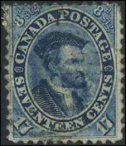 Canada-19-used-VG-F-1859-First-Cents-17c-blue-Jacques-Cartier-CV-90-00