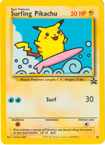 POKEMON-Surfing-Pikachu-PIKA-BLACK-STAR-PROMO-28-ORIGINALE-NMINT-NM