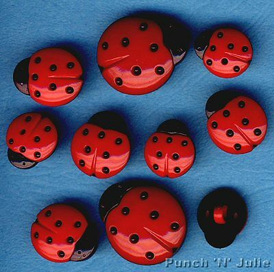 LADYBUGS Ladybird Red Black Spots Nature Garden Insect Dress It Up Craft Buttons