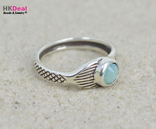 H2O Just Add Water Mako Mermaid Tail Moon Ring Sterling Pacific Opal Stone