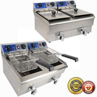 Commercial Deep Fryer 20l W/ Timer And Drain Fast Food French Frys Electric