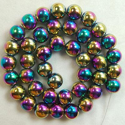 "Natural Hematite Gemstone Round Loose Beads 16"" Muli Color 2mm 3mm 4mm 6mm 8mm"