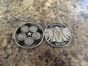 Details about CHALLENGE COIN AMERICAN VALOR ARMY NAVY MARINES AIR FORCE  COAST GUARD REAL NICE