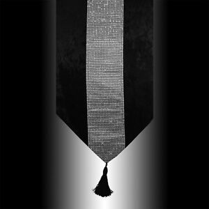 NEW-SHINY-BLING-SILVER-BLACK-THICK-VELVET-TASSELS-WEDDING-BED-TABLE-RUNNER-CLOTH