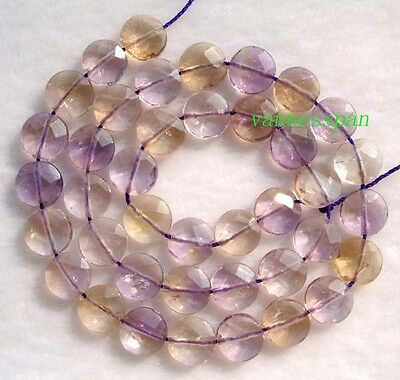 Natural Ametrine Faceted Flat Coin/Disc Beads 10mm 15""