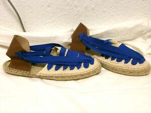 Azul Tipo Mango En Piel Cordones Sandalias Alpargata Y Marrón XZ8n0wkPNO