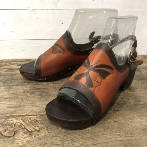 Vintage 70s Platforms Shoes Sandals Leather Butter