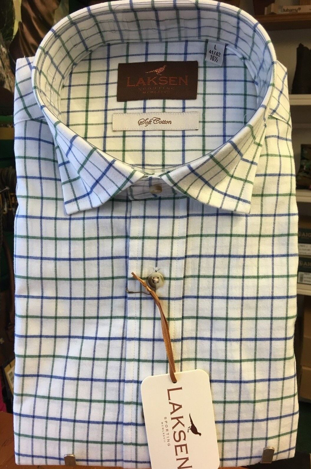 Laksen Bill Tattersall Soft Cotton Sporting Shirt Field Green Azure bluee