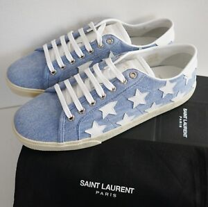 7ff9ab8e7110c SAINT LAURENT SL-06 20 STAR Denim Court Classic LOW-TOP Sneakers EU ...