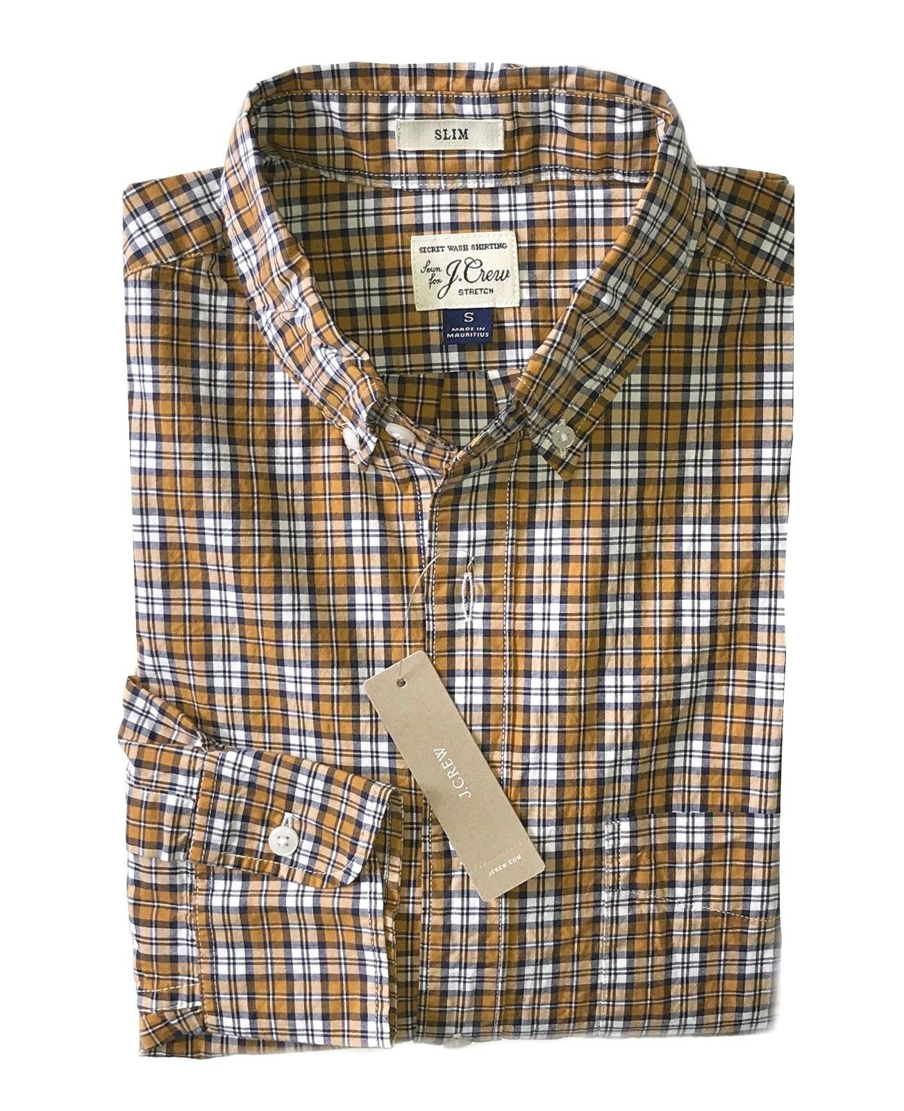 J.Crew Mens M - Classic Fit - NWT - orange Brown Plaid Secret Wash Cotton Shirt