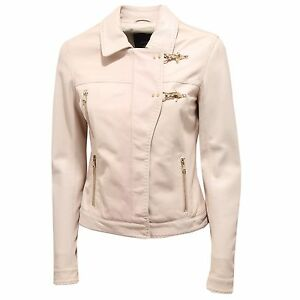 finest selection 65bd9 da8de Details about 3898R giubbotto pelle donna FAY beige giacca jacket woman