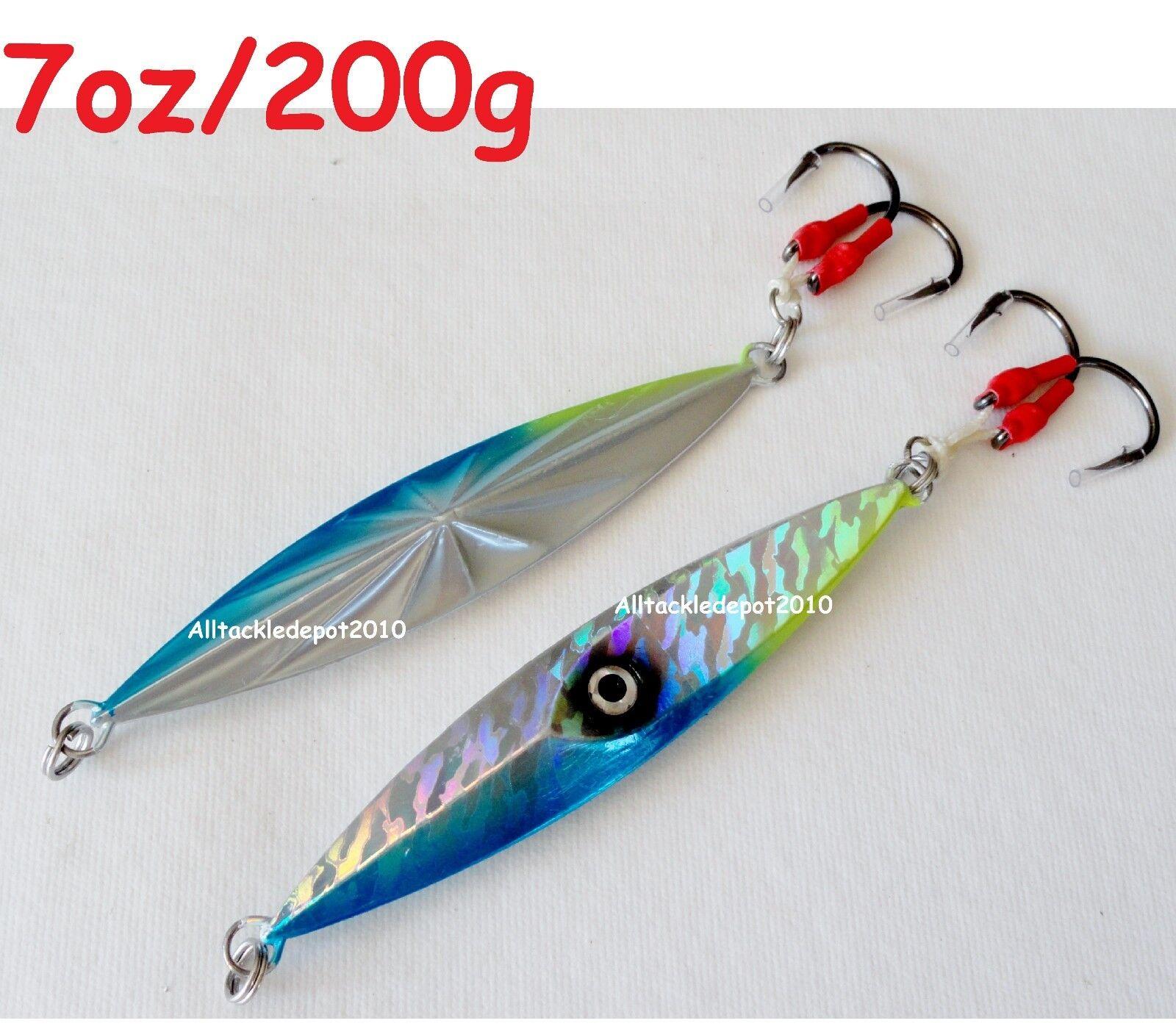 1-10 Pcs 7oz 200g Jigging Diamante Jigs Azul Amarillo De Agua Salada Señuelos de pesca