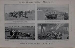 1900-PRINT-GERMAN-MILITARY-MANOEUVRES-INFANTRY-TROOPS-DEFENDING-VILLAGE-BIVOUAC