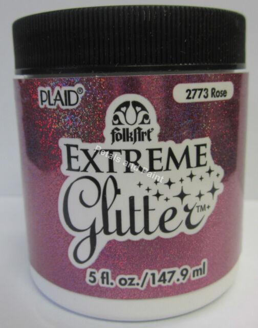 New Plaid Folk Art Extreme Rose Glitter Acrylic Paint 5 fl.oz/147.9ml #2773