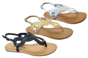 e74460433 Image is loading New-Ladies-039-Braided-Roman-Gladiator-Flat-Sandal-