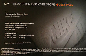 c363ea7366f7 NIKE EMPLOYEE STORE PASS! Entry to the employee store   50% off ...