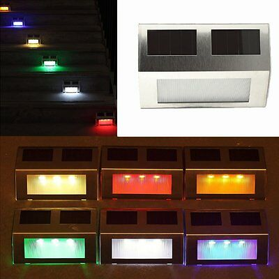 3 LED SOLAR POWERED PATH STAIR DOOR / FENCE / WALL LIGHT OUTDOOR GARDEN BRIGHT