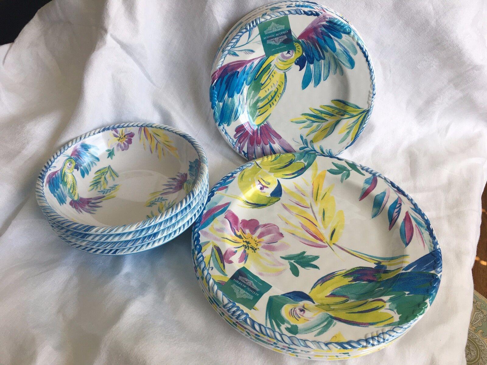 ARTISTIC Accents Neuf Avec étiquettes 12 Pièces Mélamine Vaisselle Tropical Floral perroquet service 4