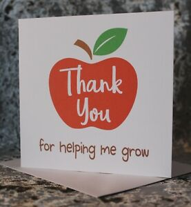 Thank you for helping me grow End of term teacher thank you card teaching assistant card Teacher card