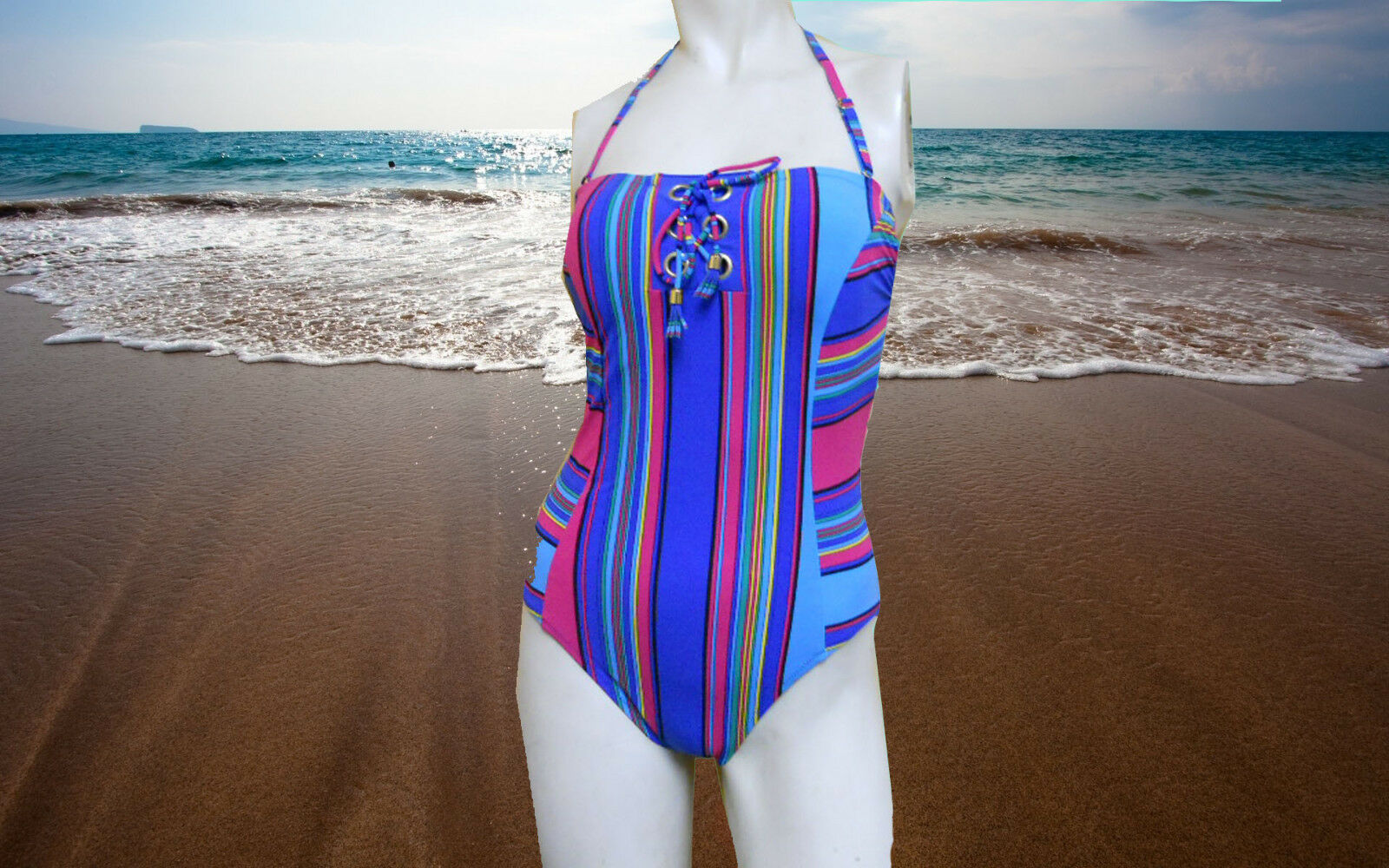 NWT GOTTEX GTX Pinstripe STRIPED HALTER Bathing Suit SWIMSUIT 1 pc SIZE - 6