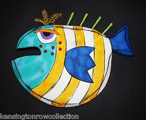 WALL ART - FANCIFUL FISH WALL SCULPTURE - YELLOW AND AQUA STRIPE FISH