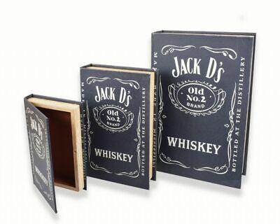 Rustique Style Vintage Gentleman Jack Daniels Boîte de rangement caisse en chêne foncé.