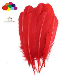 100-Pcs-Rouge-Turquie-piquants-par-Aile-Plumes-28-33-CM-11-13IN-Bijoux-A-faire-soi-meme-Carnaval