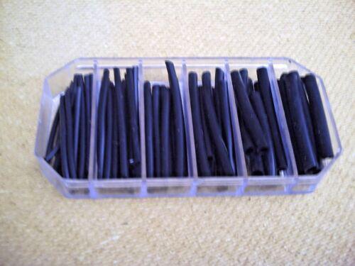 Assortiment Noir Tube de Silicone pour flotteurs /& Carpe//Barbillon Rigs six tailles. Pré Cut