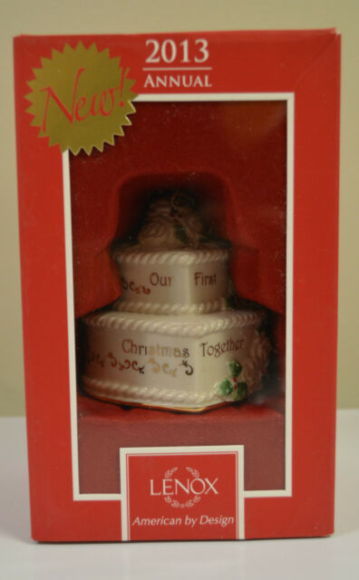 2013 ANNUAL LENOX 'Our First Christmas Together' Porcelain Cake Ornament $60.00