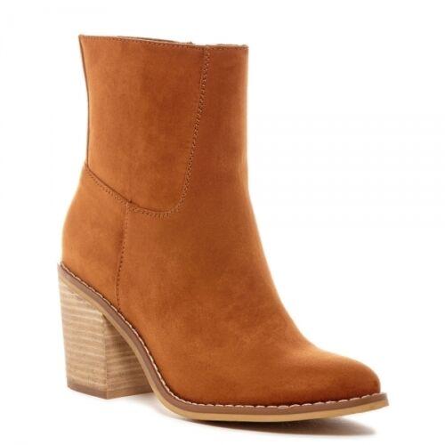 Rocket Dog DANNIS Ladies Mid Block Heel Zip High Ankle Boots Cinnamon Brown Tan